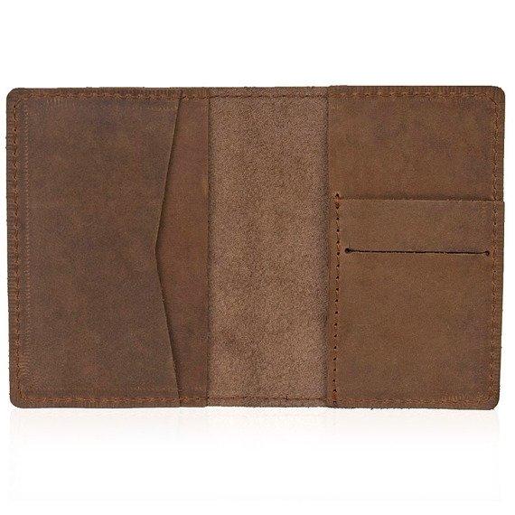 Skórzany cienki portfel slim wallet BRODRENE SW05 jasnobrązowy