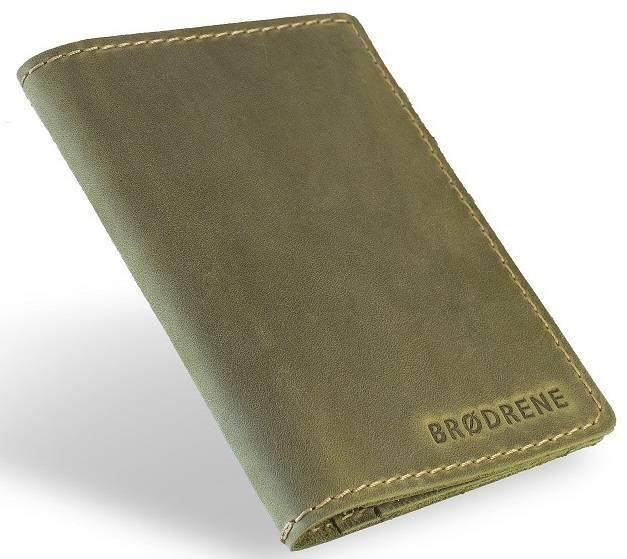 Skórzany cienki portfel slim wallet BRODRENE SW05 zielony