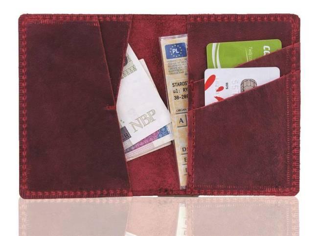 Skórzany cienki portfel slim wallet BRODRENE SW07 czerwony