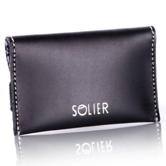 Skórzany cienki portfel wizytownik Solier SW19 czarny vintage