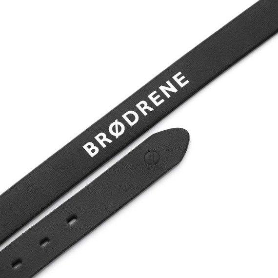 Skórzany elegancki pasek do spodni z klamrą Brodrene D01 czarny