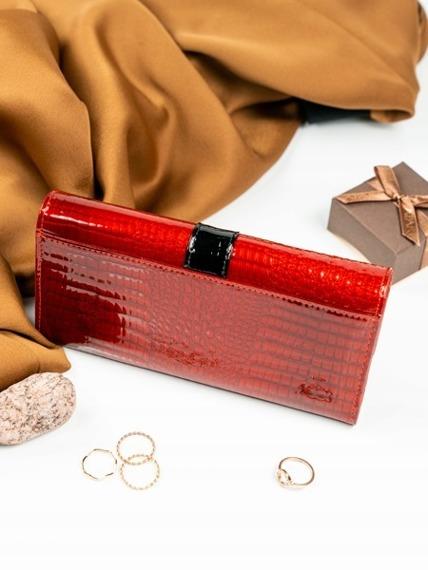 Skórzany lakierowany portfel damski czerwony Lorenti 176B