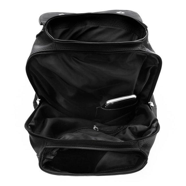 Skórzany plecak damski czarny PAOLO PERUZZI B-18