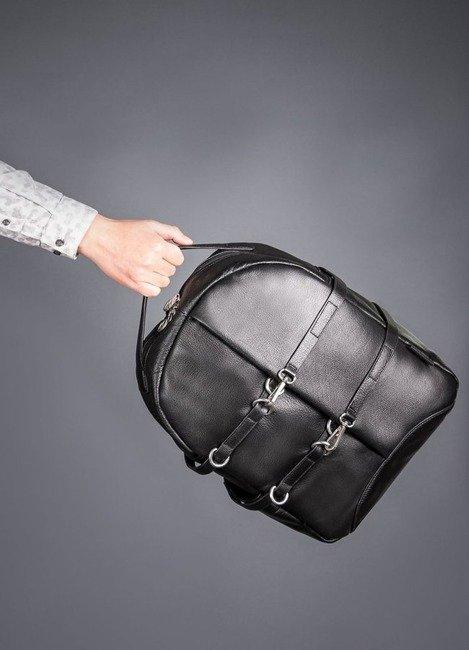 Skórzany plecak męski na laptopa McKlein Oakland czarny
