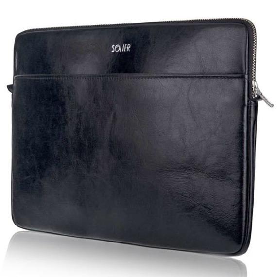 Skórzany pokrowiec etui na laptopa 15 cali Solier SA24A czarny