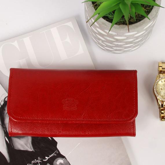 Skórzany portfel damski P179 czerwony