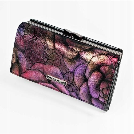 Skórzany portfel damski brokatowy Lorenti