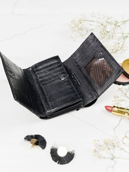 Skórzany portfel damski czarny Lorenti
