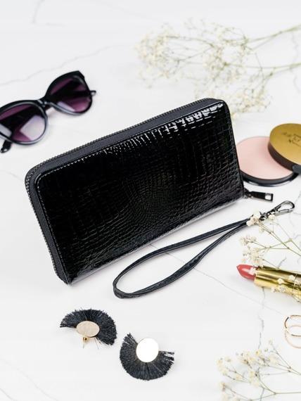 Skórzany portfel damski czarny Lorenti 76119