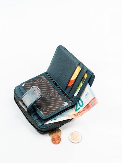 Skórzany portfel damski lakierowany brązowy Lorenti
