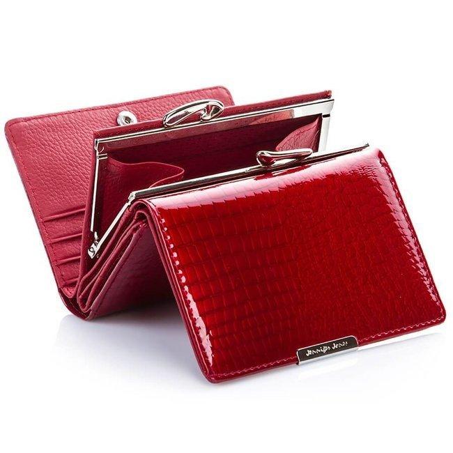 Skórzany portfel damski lakierowany czarny Jennifer Jones 5243-1