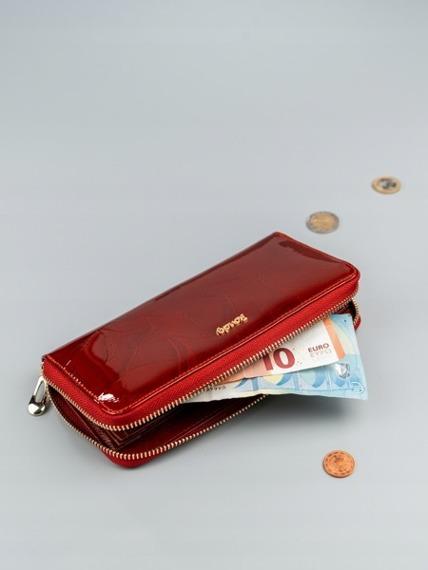 Skórzany portfel damski lakierowany czerwony RFID Rovicky
