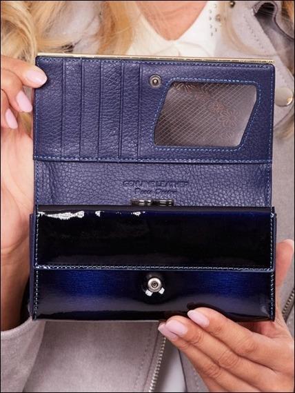 Skórzany portfel damski lakierowany granatowy Paris Design 64003