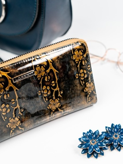 Skórzany portfel damski lakierowany na zamek złoty Lorenti