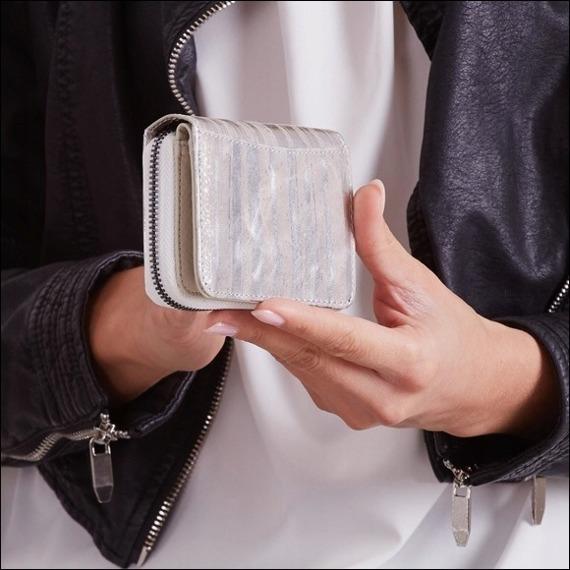 Skórzany portfel damski srebrny Forever Young 5157