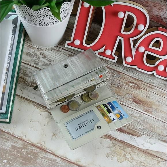 Skórzany portfel damski srebrny Forever Young 76112