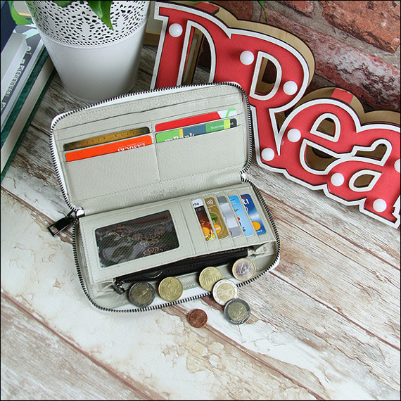 Skórzany portfel damski srebrny Forever Young 76119