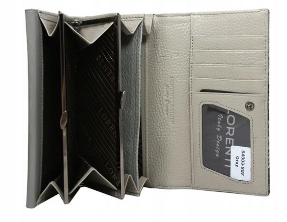 Skórzany portfel damski szary Lorenti 64003
