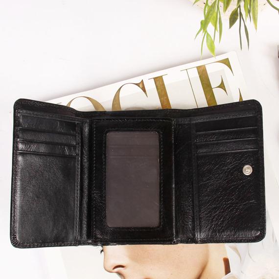 Skórzany portfel damski w pudełku KRENIG Classic 12009 czarny