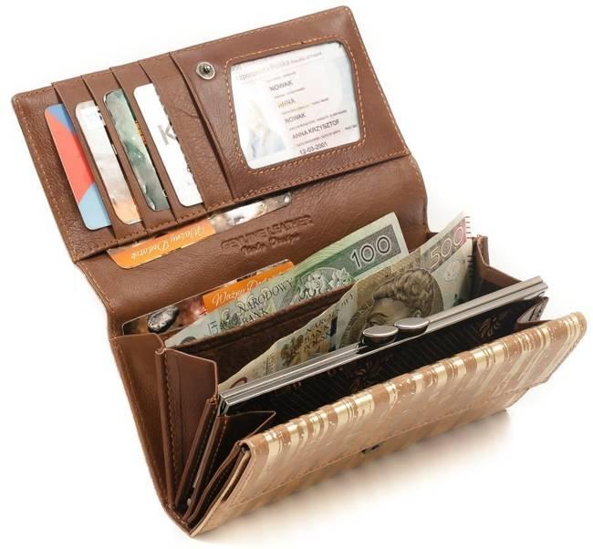 Skórzany portfel damski złoty Forever Young 64003
