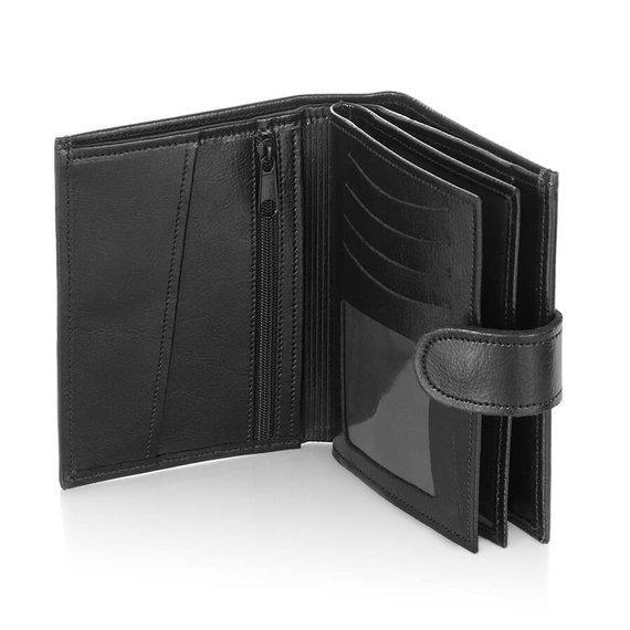 Skórzany portfel męski Brodrene A-03 czarny