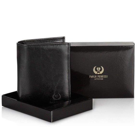 Skórzany portfel męski PAOLO PERUZZI GA172 czarny