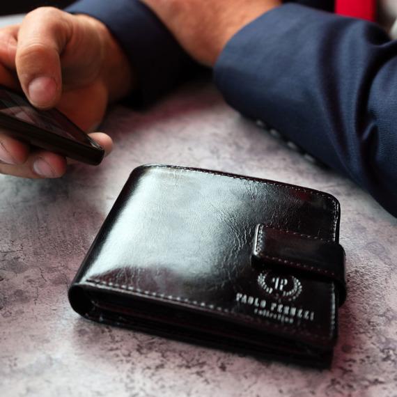 Skórzany portfel męski PAOLO PERUZZI GA182 czarny