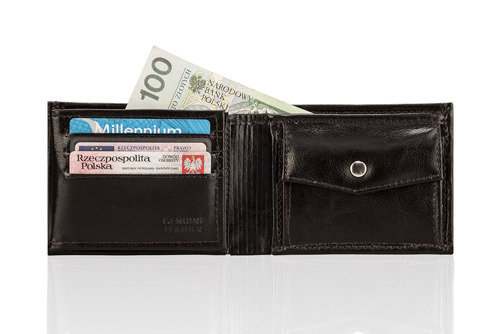 Skórzany portfel męski SOLIER SW06 ciemnobrązowy