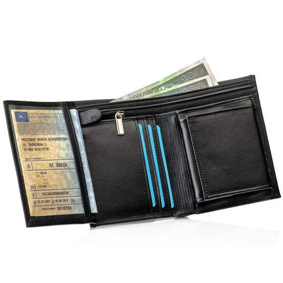 Skórzany portfel męski SOLIER SW08 czarny