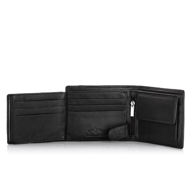Skórzany portfel męski czarny J.Jones RFID 5313