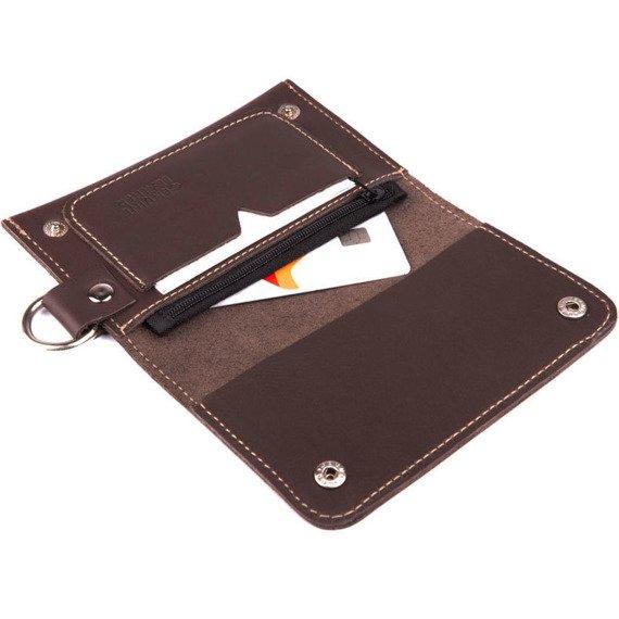 Skórzany portfel męski/wizytownik z miejscem na bilon SOLIER SW20 brązowy vintage