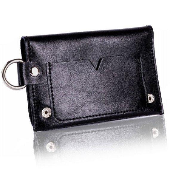 Skórzany portfel męski/wizytownik z miejscem na bilon SOLIER SW20 czarny