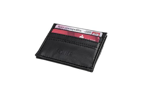 Skórzany portfel wizytownik męski SOLIER SA13 czarny
