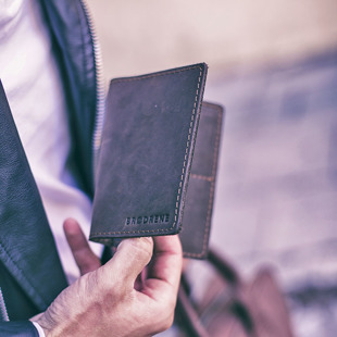 Skórzany zestaw portfel i bilonówka BRODRENE SW01 + CW01 ciemnobrązowy