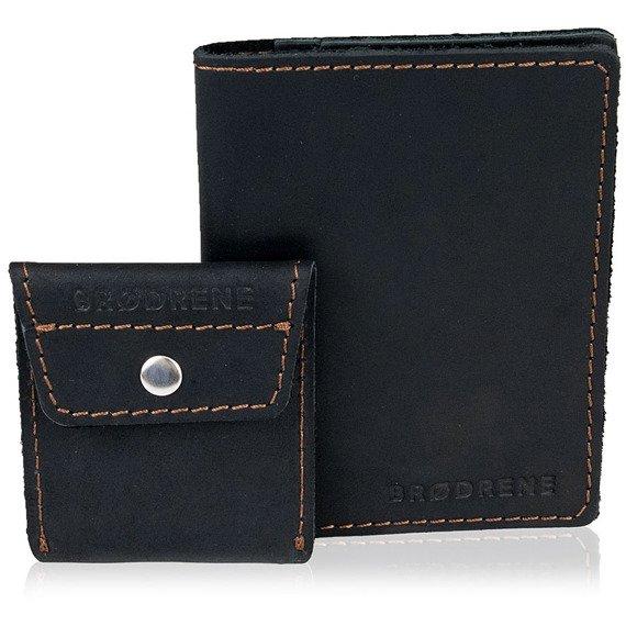 Skórzany zestaw portfel i bilonówka BRODRENE SW01 + CW02 czarny