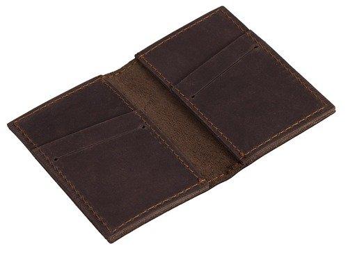 Skórzany zestaw portfel i bilonówka BRODRENE SW03 + CW01 ciemnobrązowy