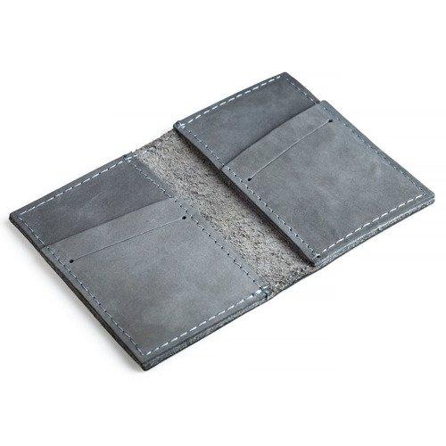 Skórzany zestaw portfel i bilonówka BRODRENE SW03 + CW01 szary