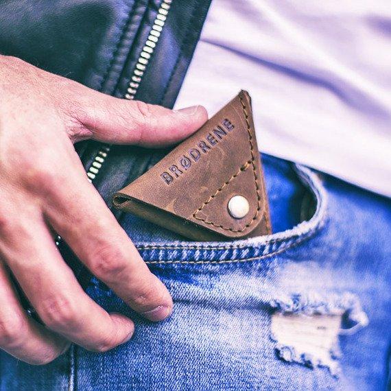 Skórzany zestaw portfel i bilonówka BRODRENE SW06 + CW01 jasnobrązowy