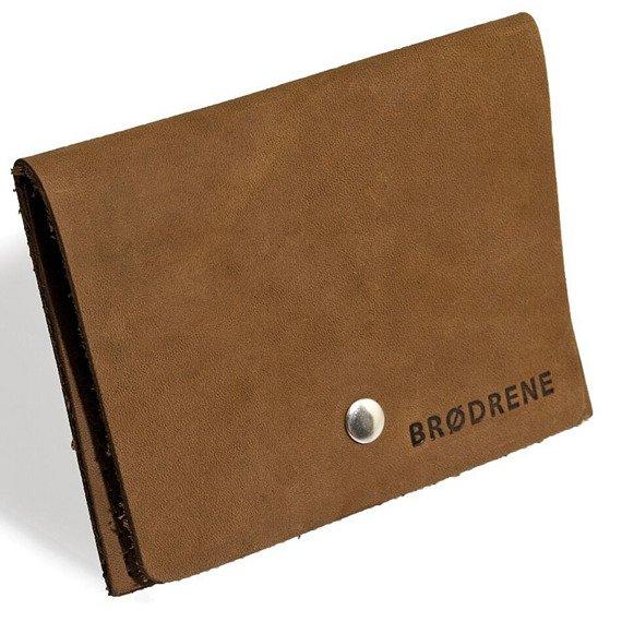 Skórzany zestaw portfel i bilonówka BRODRENE SW06 + CW02 jasnobrązowy
