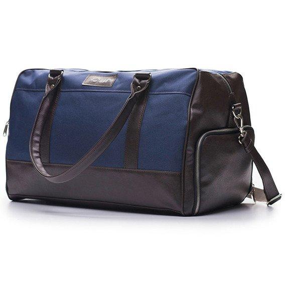 Sportowa torba weekendowa męska Solier granatowo-brązowa