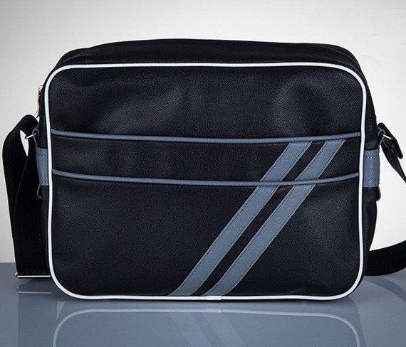 Stylowa torba męska na ramię SOLIER Messenger by Solier MS02 czarno - szara