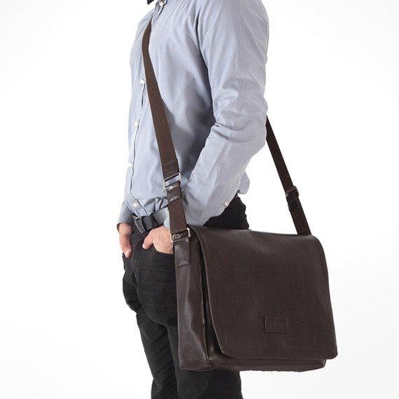 Stylowa torba męska na ramię casual SOLIER S11 brązowa