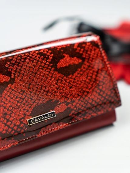 Stylowy portfel damski czerwony Cavaldi PL20-SN
