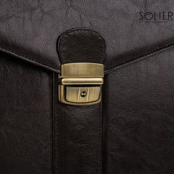 Teczka aktówka męska biznesowa SOLIER S20 ciemnobrązowa