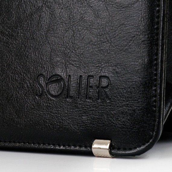 Teczka aktówka męska biznesowa SOLIER S20 czarna