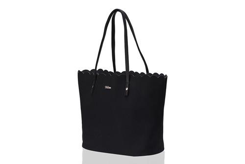 Torebka damska shopper falbanka MILTON ML05 czarna