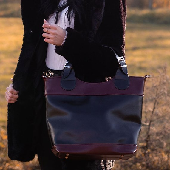 Torebka skórzana elegancki kuferek DAN-A T195 czarno-koniakowa