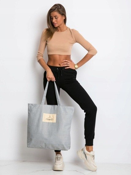 Tote bag z tkaniny płóciennej jasnoszara - street fashion