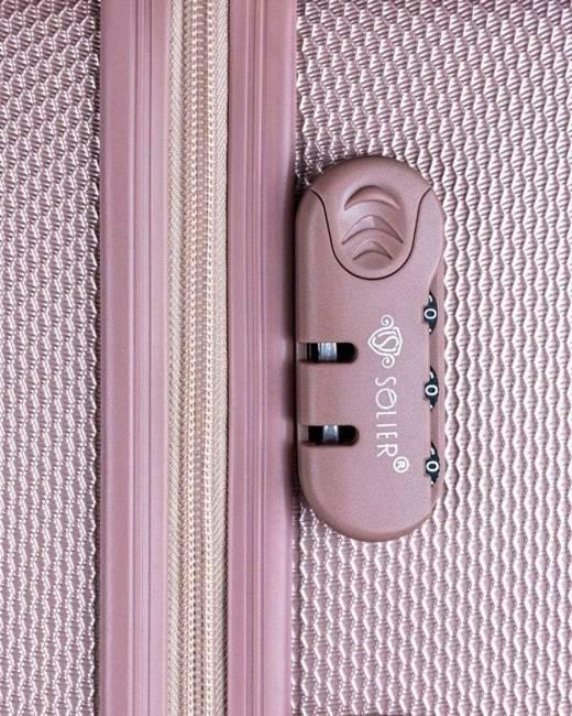 Walizka różowa twarda SOLIER STL946 PINK M