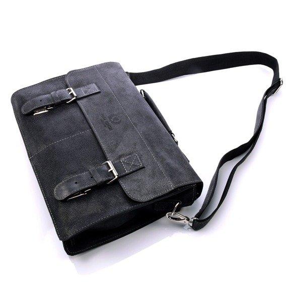 Włoska teczka skórzana czarna vintage Paolo Peruzzi 004TM